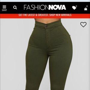 Olive green super high waist denim skinnies